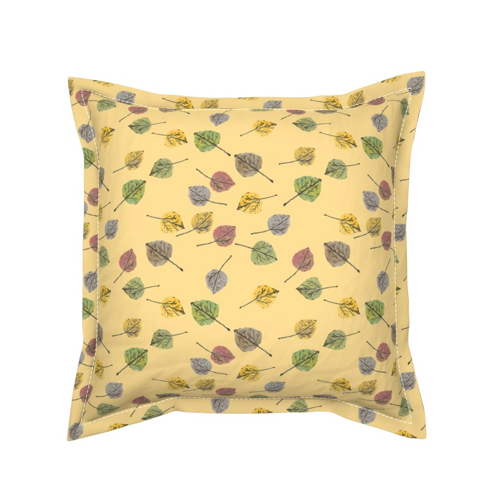 Serama Throw Pillow featuring Colorado Aspen Tree Leaves Hand-painted Watercolors in Aspen Gold by paper_and_frill