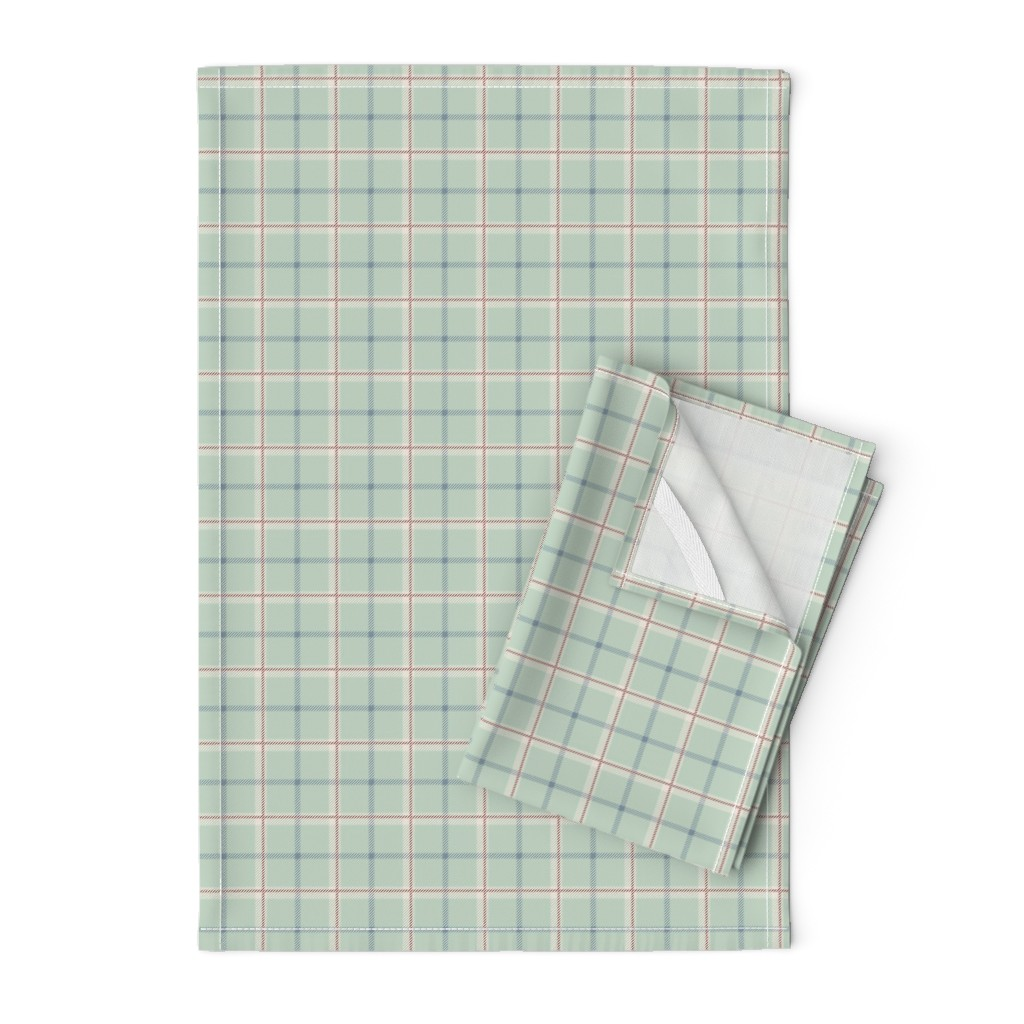 Orpington Tea Towels featuring Griffith Tartan in Sage Green by paper_and_frill