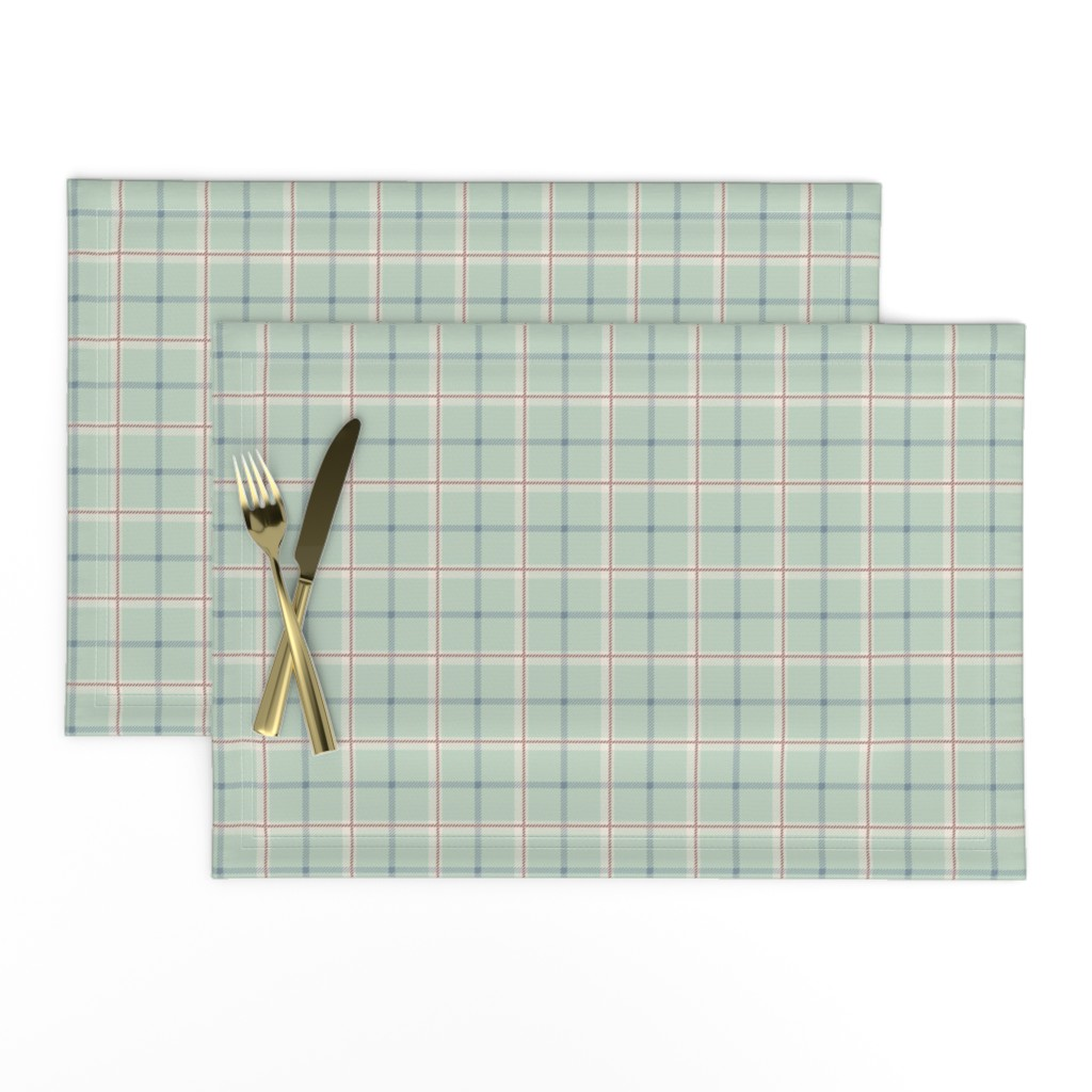 Lamona Cloth Placemats featuring Griffith Tartan in Sage Green by paper_and_frill