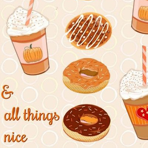 Coffee and doughnuts // pumpkin spice latte //  Christmas //  holiday Pumpkin Spice Latte & doughnuts