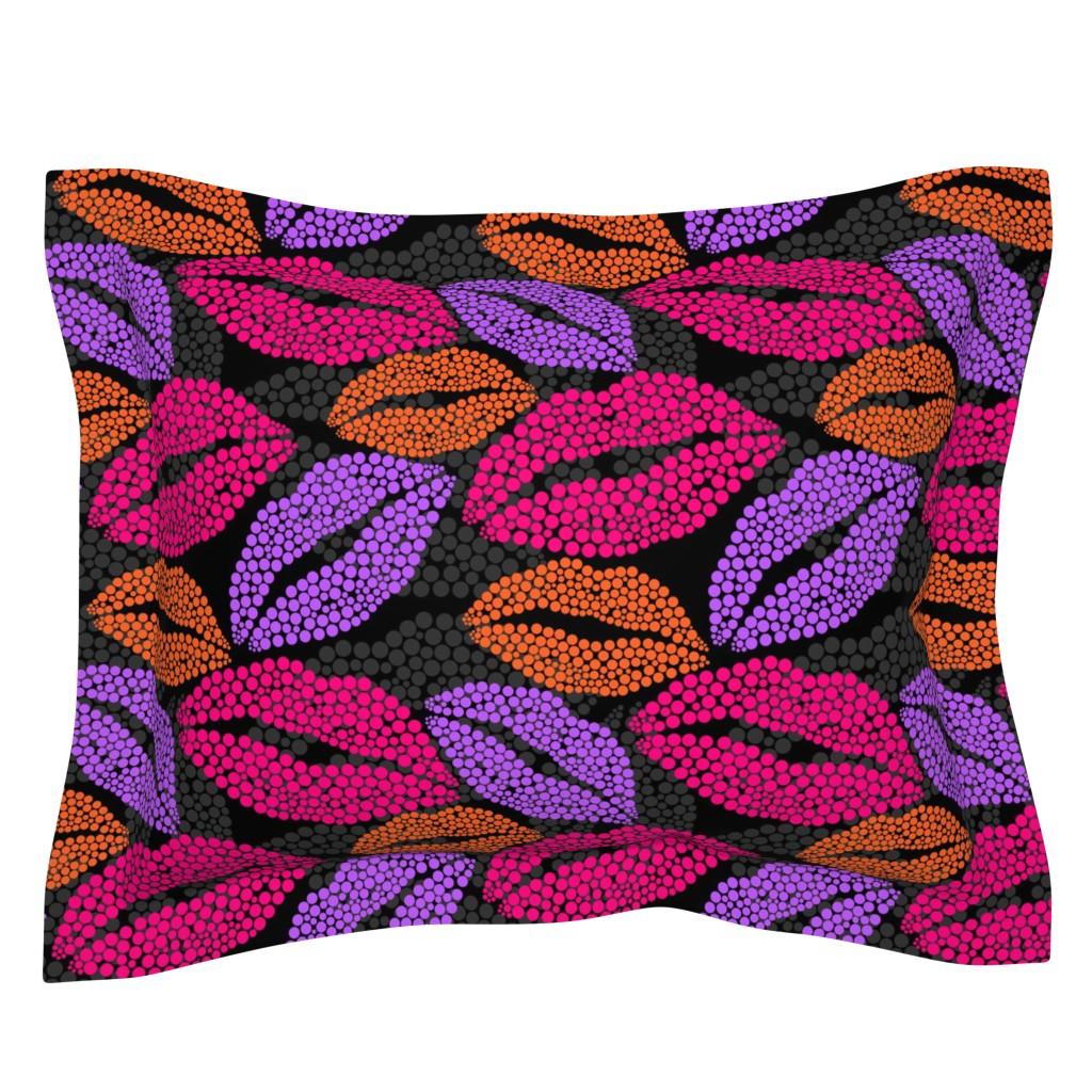 Sebright Pillow Sham featuring Luscious Lips In Pink Purple Orange by theartofvikki