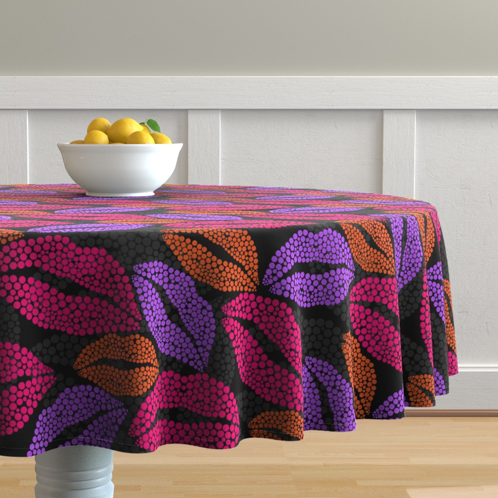 Malay Round Tablecloth featuring Luscious Lips In Pink Purple Orange by theartofvikki