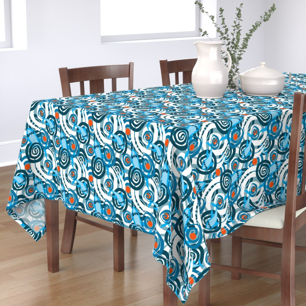 Bantam Rectangular Tablecloth featuring Shark Swirl 2 by squishylicious