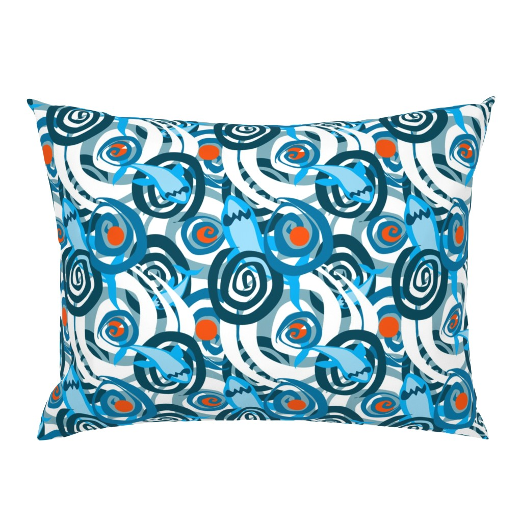 Campine Pillow Sham featuring Shark Swirl 2 by squishylicious