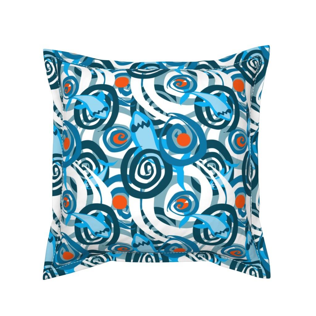Serama Throw Pillow featuring Shark Swirl 2 by squishylicious