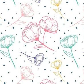 Kristin Nicole Floral Colorful Multi Polkadot