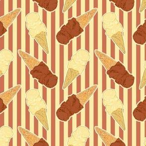chocolate and vanilla ice cream cones