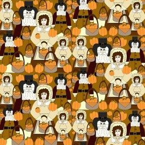 Norman The Pilgrim and Pleasantly Plump Eunice Fall Pilgrims Thanksgiving Fabric Collection