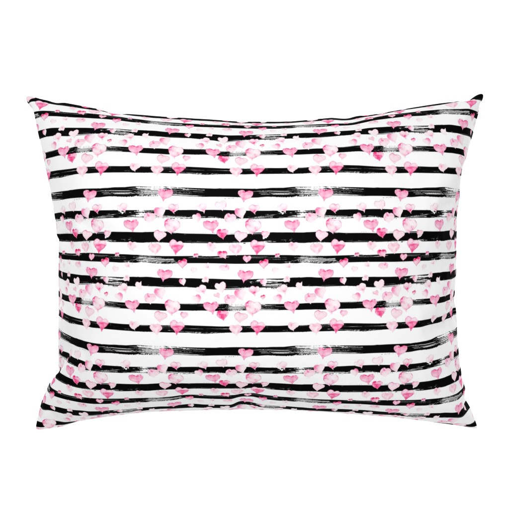 Campine Pillow Sham featuring Small // Watercolor Pink Hearts on Black Stripes by hipkiddesigns