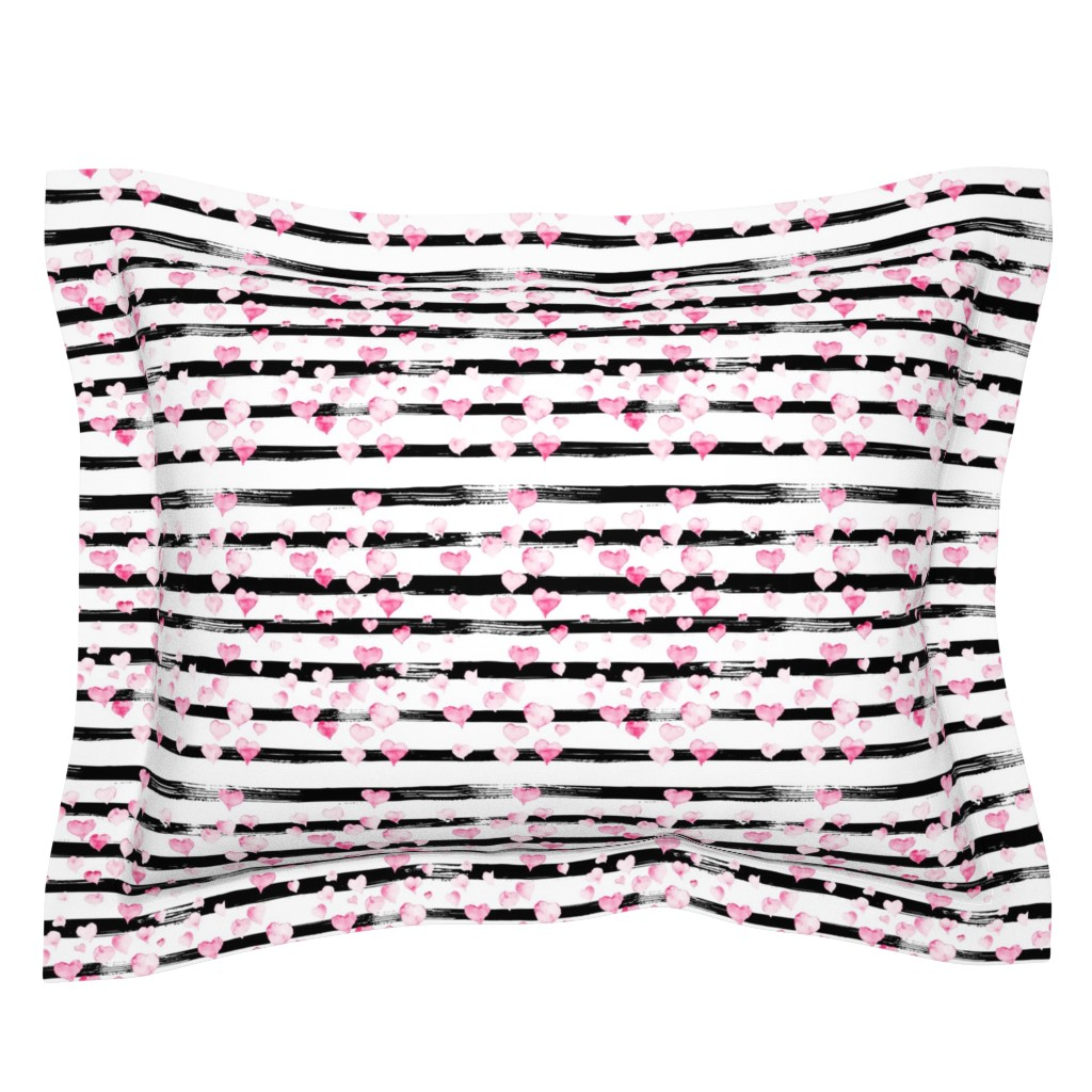 Sebright Pillow Sham featuring Small // Watercolor Pink Hearts on Black Stripes by hipkiddesigns
