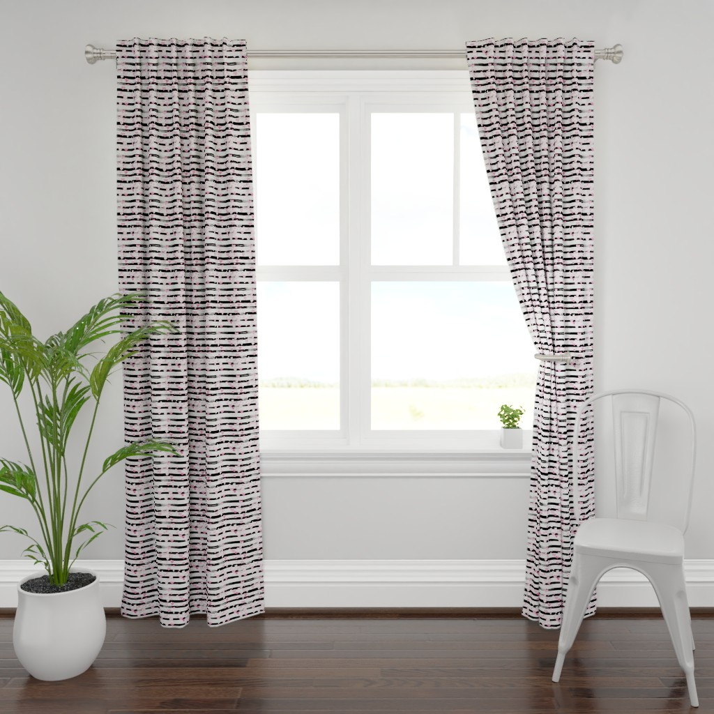 Plymouth Curtain Panel featuring Small // Watercolor Pink Hearts on Black Stripes by hipkiddesigns