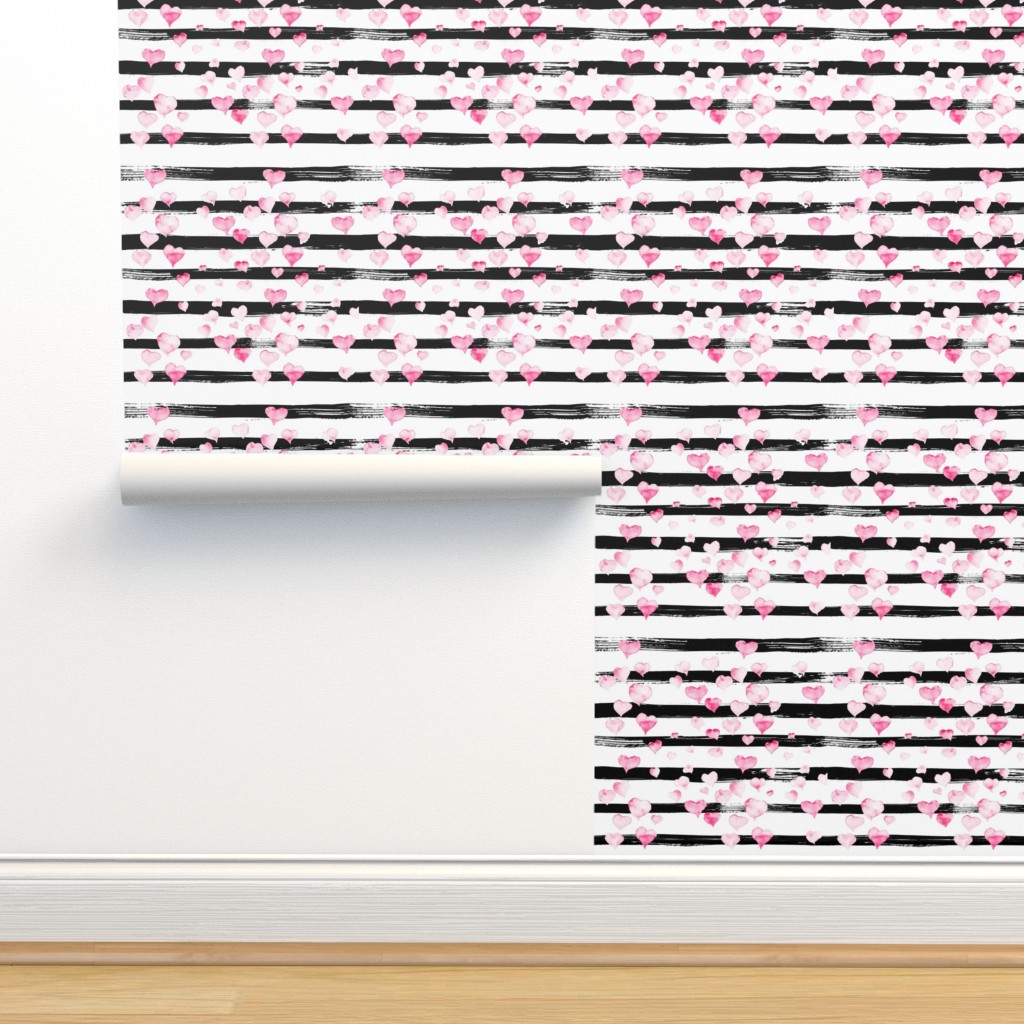 Isobar Durable Wallpaper featuring Small // Watercolor Pink Hearts on Black Stripes by hipkiddesigns