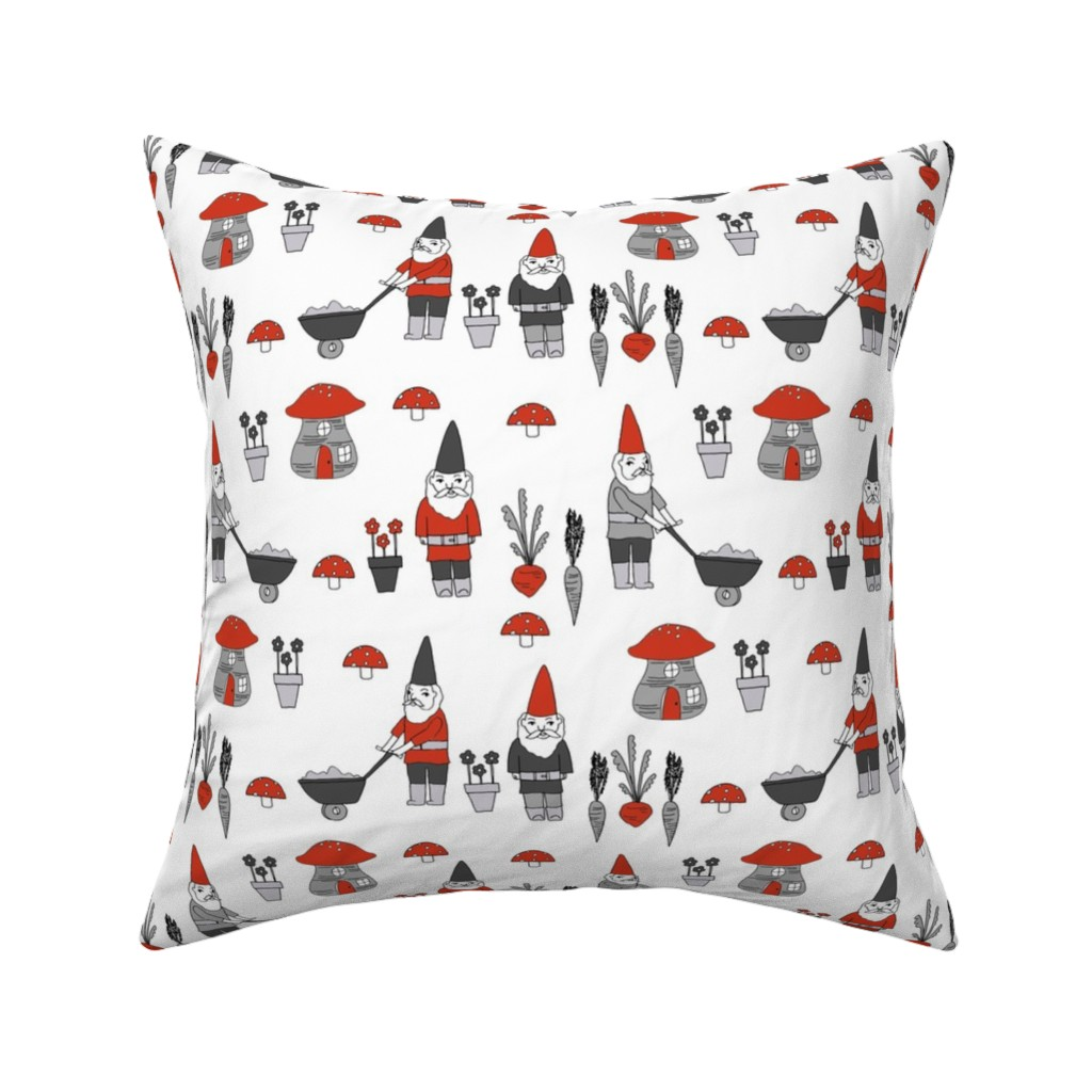 Catalan Throw Pillow featuring gnome garden // mushroom gnome fairytale fabric cute gnome characters - red and grey by andrea_lauren