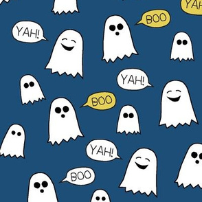 Boo Yah ghost fabric navy/ kids baby halloween clothes