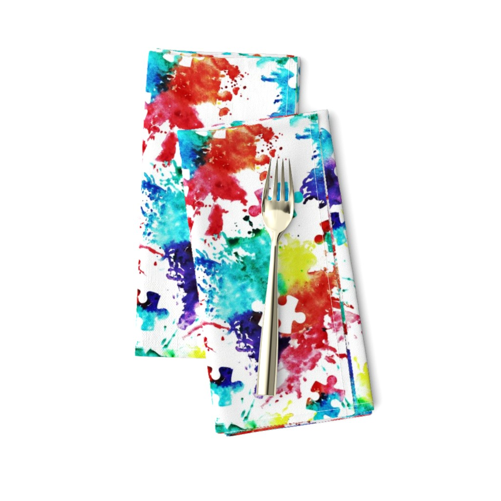 Amarela Dinner Napkins featuring autism awareness watercolor splatter fabric w/ puzzle piece by littlearrowdesign