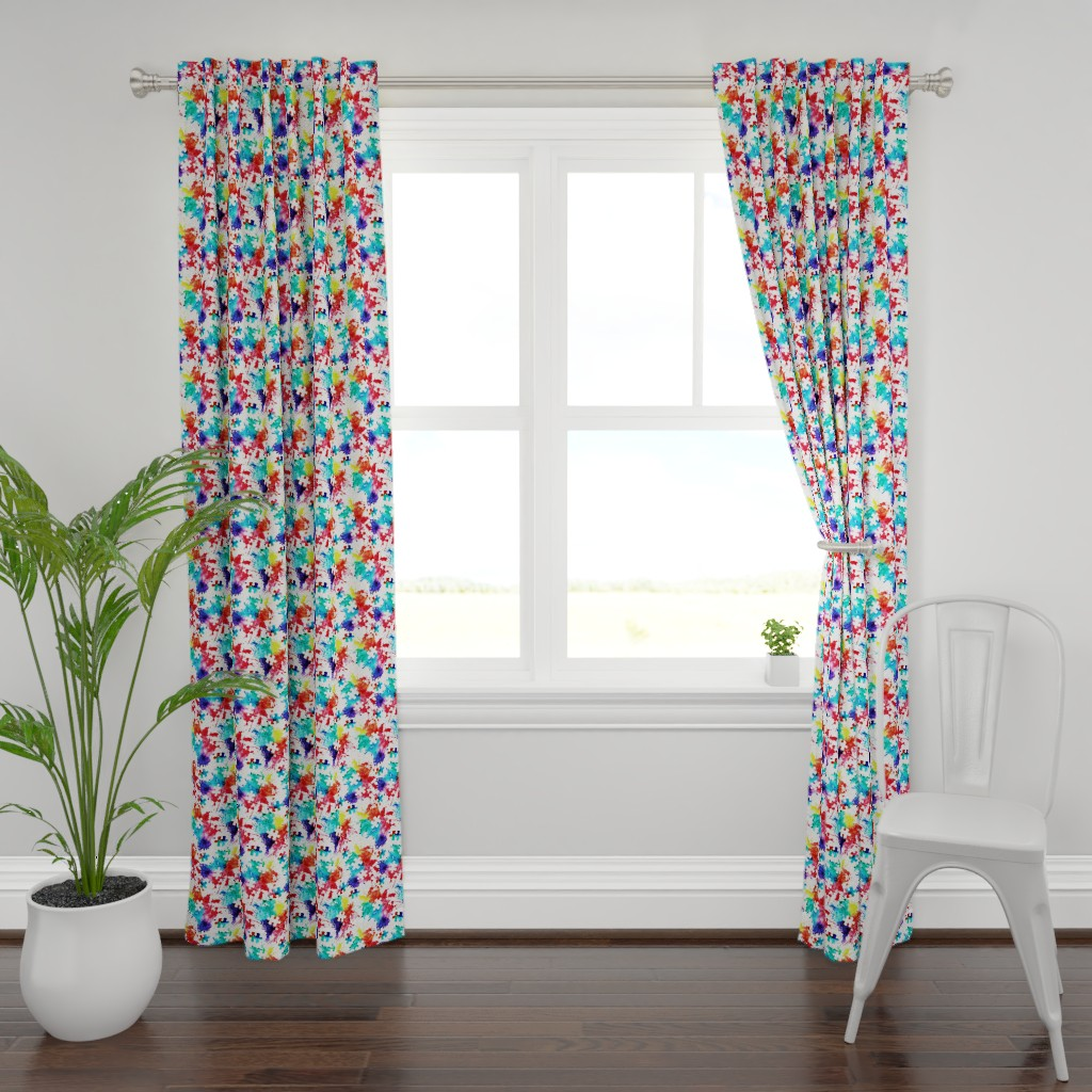 Plymouth Curtain Panel featuring autism awareness watercolor splatter fabric w/ puzzle piece by littlearrowdesign