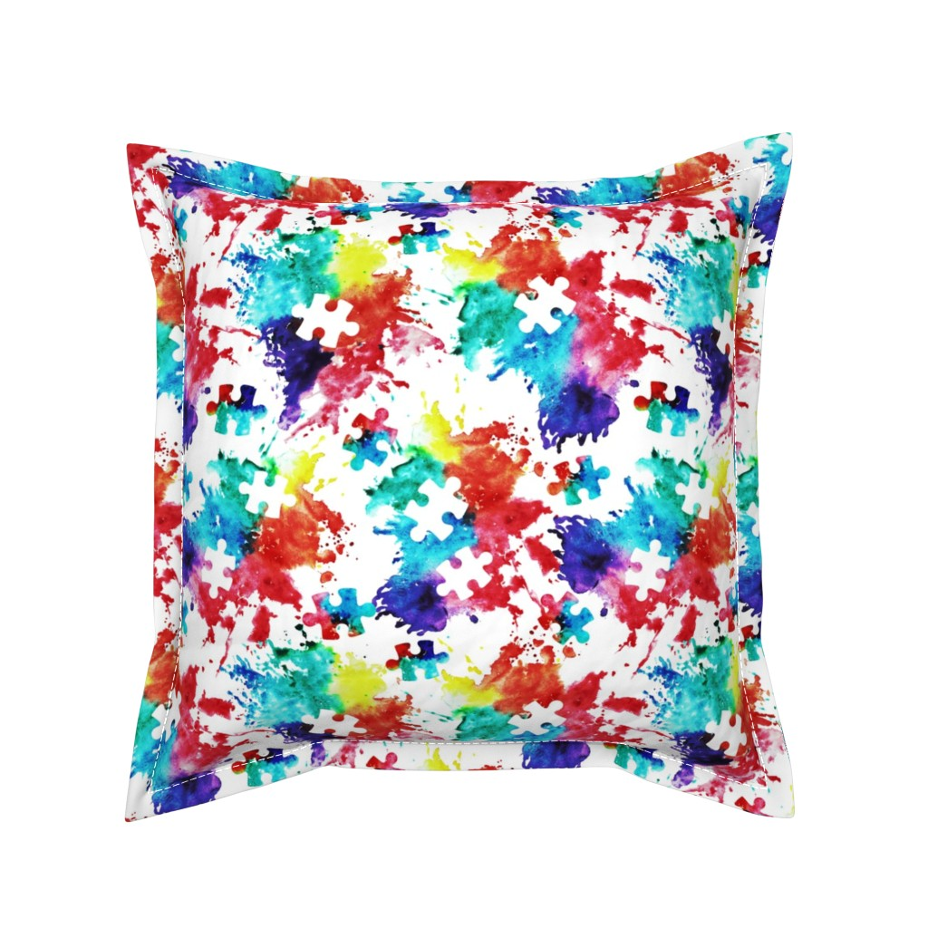 Serama Throw Pillow featuring autism awareness watercolor splatter fabric w/ puzzle piece by littlearrowdesign