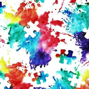 autism awareness watercolor splatter fabric w/ puzzle piece