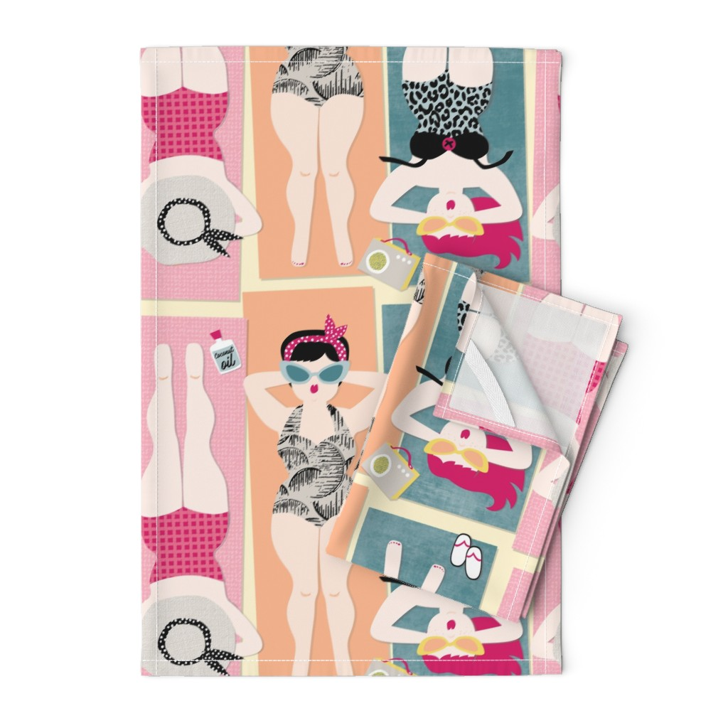 Orpington Tea Towels featuring Bathing Beauties / Australian beach sand swimsuit 1950's radio retro by mountvicandme