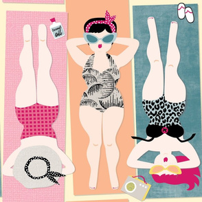 Bathing Beauties / Australian beach sand swimsuit 1950's radio retro