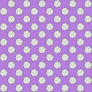 Half Inch Black and White Sports Volleyball Balls on Lavender Purple