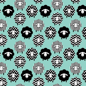 BLACK AND WHITE SHEEP ON MINT