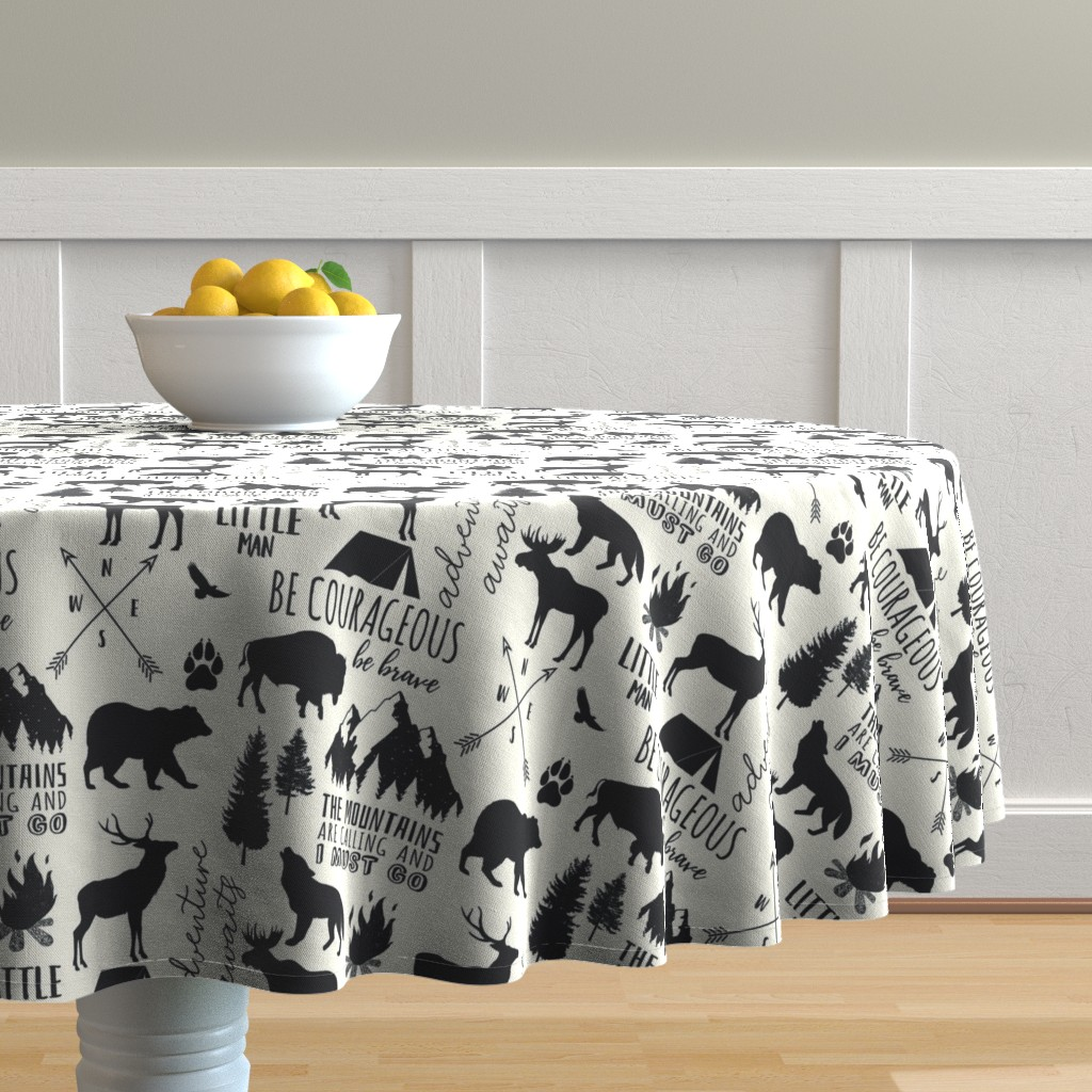 Malay Round Tablecloth featuring In the Wild Woodland by hipkiddesigns