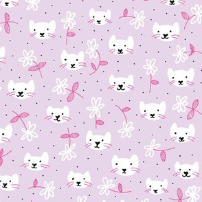 Sweet flowers and cats cool kitten illustration print in violet and pink girls
