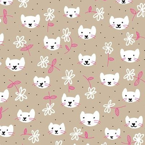 Sweet flowers and cats cool kitten illustration print in beige and pink
