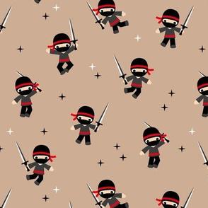 Little Ninja warrior boys fighting with swords red beige