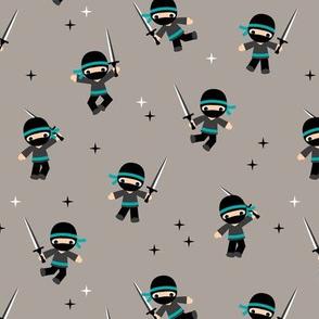 Little Ninja warrior boys fighting with swords blue beige