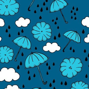 Rainy day head in the clouds umbrella love  illustration blue pattern design
