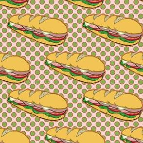 Submarine Sandwich on Polka Dots