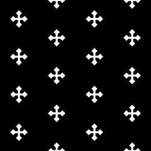 Greek Cross in White on Black