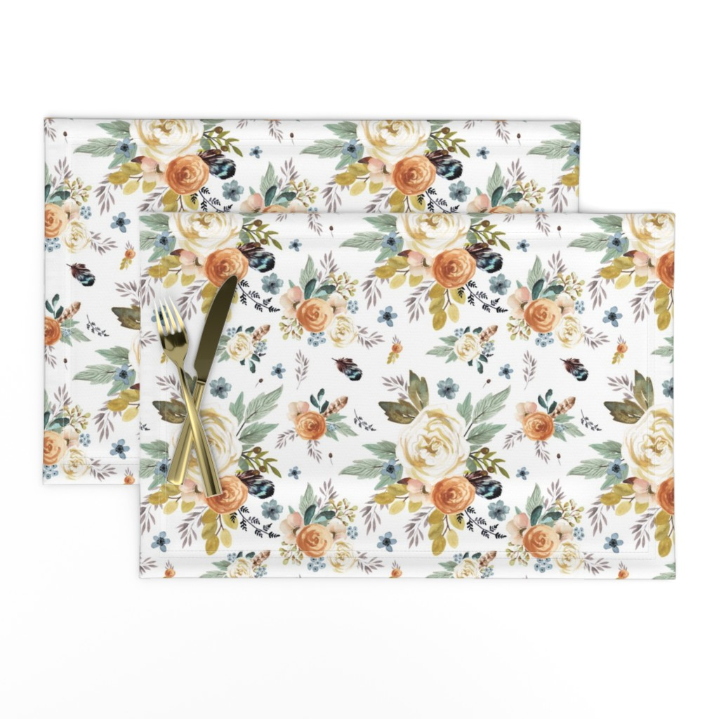 """Lamona Cloth Placemats featuring 8"""" Western Autumn / More Florals / White by shopcabin"""