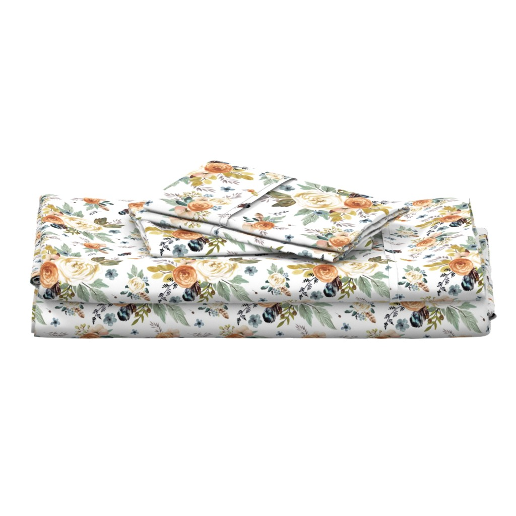 "Langshan Full Bed Set featuring 8"" Western Autumn / More Florals / White by shopcabin"