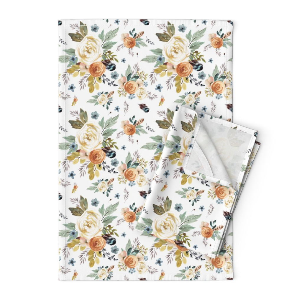 """Orpington Tea Towels featuring 8"""" Western Autumn / More Florals / White by shopcabin"""