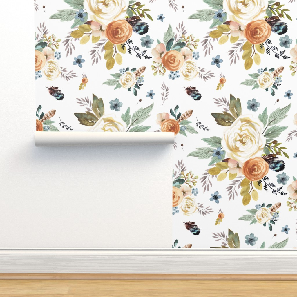 """Isobar Durable Wallpaper featuring 8"""" Western Autumn / More Florals / White by shopcabin"""