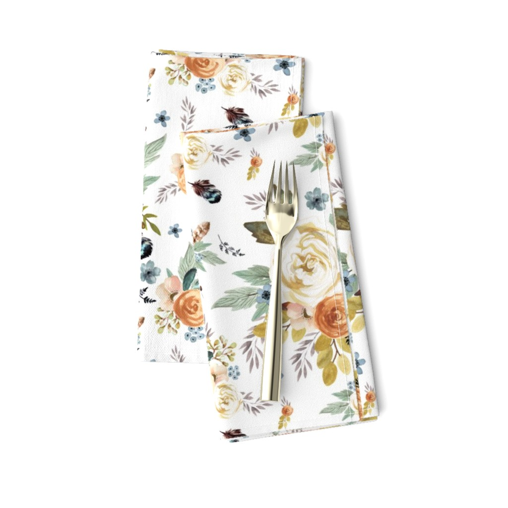 """Amarela Dinner Napkins featuring 8"""" Western Autumn / More Florals / White by shopcabin"""