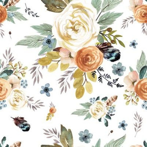"8"" Western Autumn / More Florals / White"