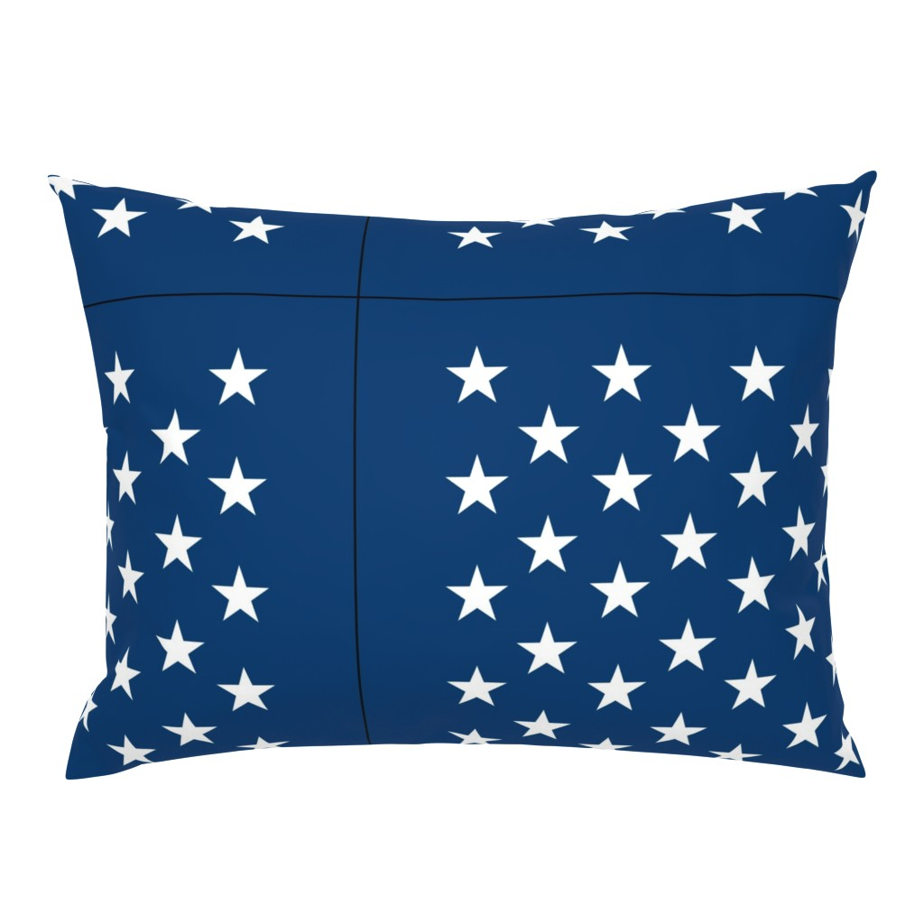 Campine Pillow Sham featuring American flag - blue star field by renee2181