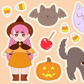Halloween Kawaii Witch & Friends Cut and Sew Panel