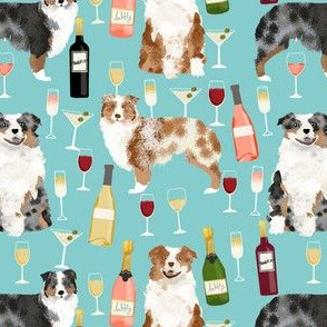 australian shepherd dog fabric dogs and wine design - red merle and blue merle dogs - light blue