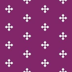 Greek Cross in White on Purple