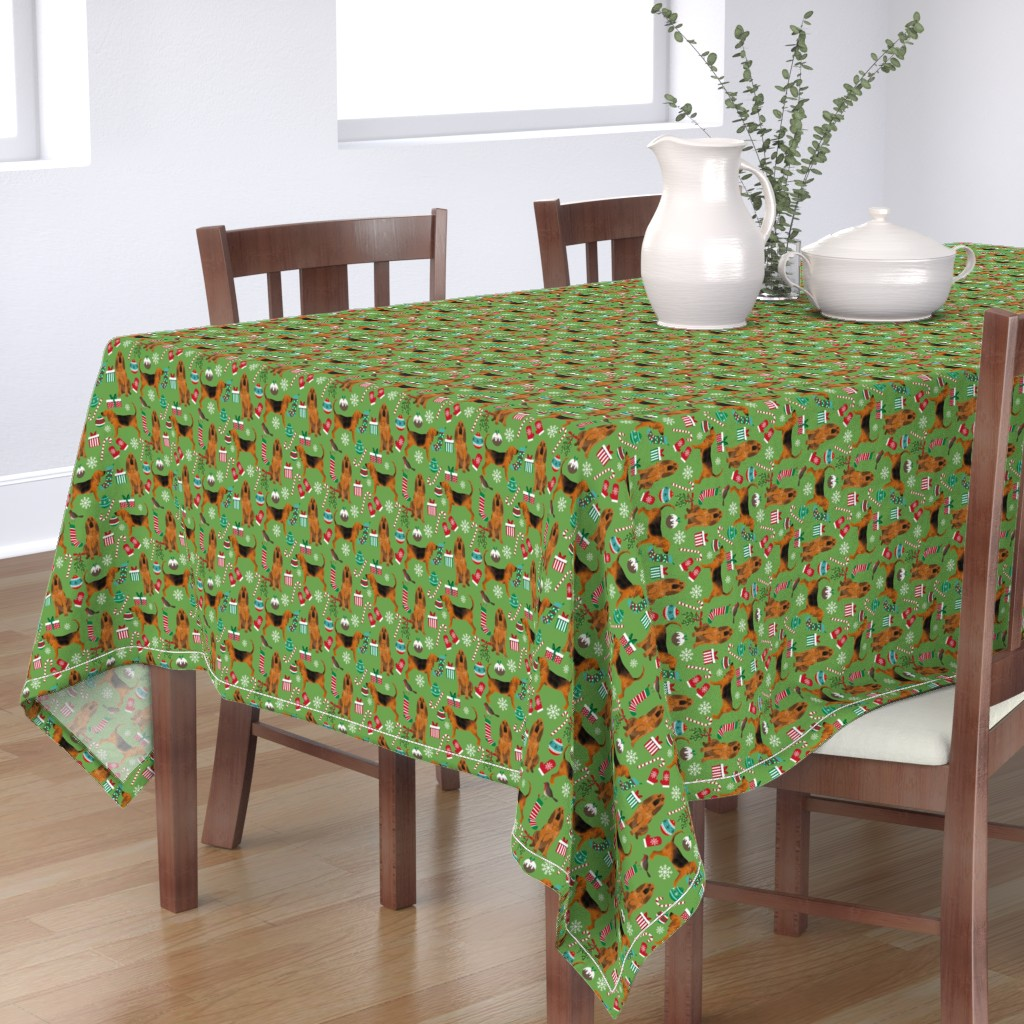 Bantam Rectangular Tablecloth featuring bloodhound christmas fabric dogs at christmas design - green by petfriendly