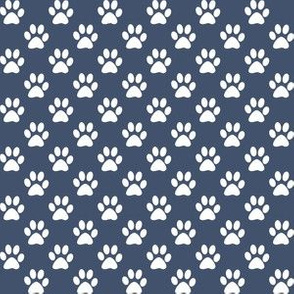 Half Inch White Paw Prints on Blue Jeans Blue