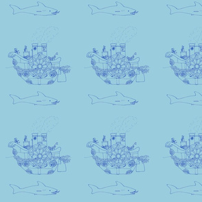Steampunk sea transportation - blue