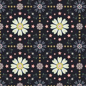 Vintage seventies flower on dark background