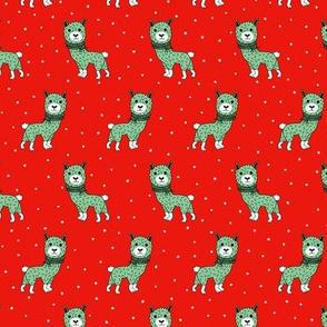 Colorful winter baby Llama kids alpaca christmas illustration pattern