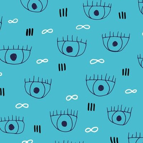 Human blue eyes and eyelashes infinite beauty staring at you cool trendy pop pattern